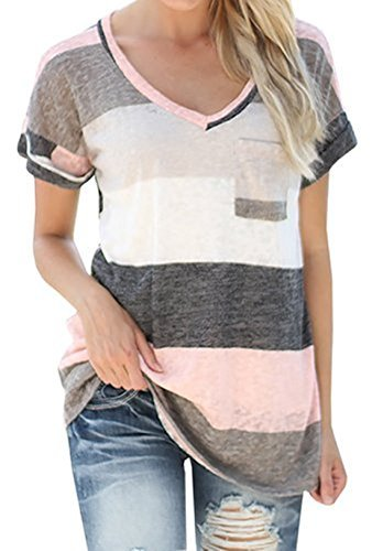 Q%26Y+Women%27s+V-neck+Striped+Casual+Short+Sleeve+T-shirt+Blouse+Tees+Tops+Grey+L