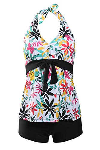 - Uniarmoire Womens Halter Top and Boy Shorts Tankini Swimming Suit Flower L