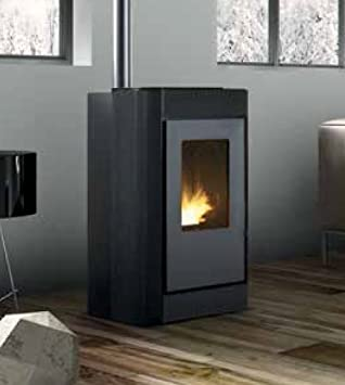 Estufa a PELLAS karmek One Oslo de 7,27kW de aire de ventilación de acero, antracita