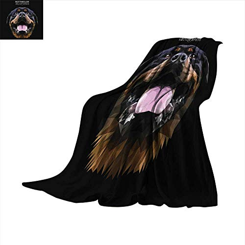 (Angoueleven Digital Printing Blanket Rottweiler Dog Animal Low Poly Design Vector Illustration Throw Blanket)
