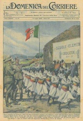 Dopo un mese di dominio italiano, nei villaggi e nelle citta' del vasto Impero d'Etiopia sorgono linde scuole, dirette, per ora, da valorosi combattenti.