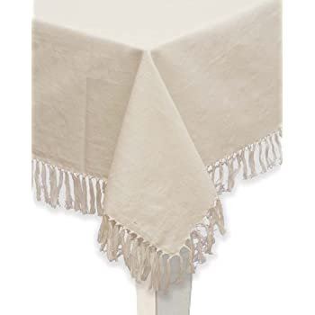 Amazon Com Mari Sati Fringed Burlap Jute Tablecloth