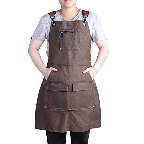 E-Gtong Waxed Canvas Work Apron, Waterproof Heavy Duty Shop Apron with Tool Pockets, Padded Shoulder and Qick Release Buckle, Woodworking Apron Adjustable M to XXL for Men & Women (Brown)
