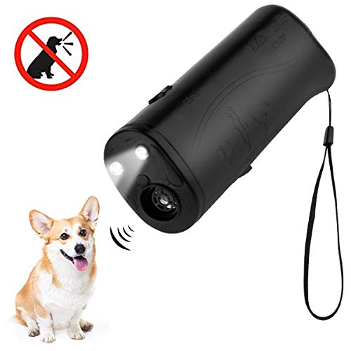 MEIREN Handheld Dog Repellent & Trainer, Anti Barking Device & Ultrasonic Dog Training Aid with Control Range of 30 Ft