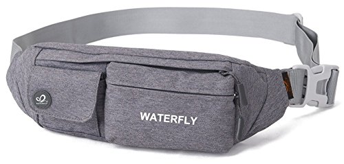 Waterfly Slim Soft Polyester Water Resistant Waist Bag Pack for Man Women Outdoors Running Climbing Carrying iPhone 5 6 Plus Samsung S5 S6 (Purple)]()