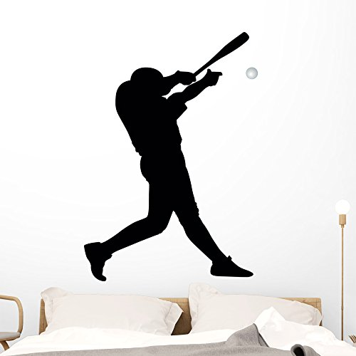(Batter Baseball Silhouette Wall Decal by Wallmonkeys Peel and Stick Graphic (48 in H x 34 in W))