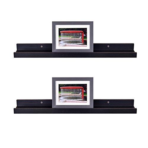 Picture Display Wall Shelf Gallery, 24 Inch x 4 Inch x 2 Inch, Set of 2, Espresso ()