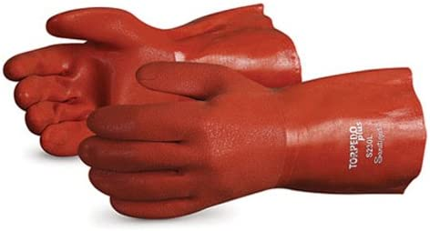 13 Gauge Thickness Large 12 Length Superior Glove Works Ltd S230FL-L 12 Length Superior S230FL Torpedo Plus Acrylic Lined Winter Glove with Soft Flexible PVC Coating Chemical Resistant Work Orange Pack of 1 Dozen