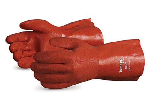 Superior S230FL Torpedo Plus Acrylic Lined Winter Glove with Soft Flexible PVC Coating, Work, Chemical Resistant, 13 Gauge Thickness, 12'' Length, X-Large, Orange (Pack of 1 Dozen)