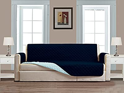 Superior Quality Reversible Couch Cover Separates-Large Sofa, Standard Sofa, Loveseat, Recliner and Arm Chair Protectors in Brown, Blue,White,Navy,Burgundy,Sage, Beige,Black and Grey