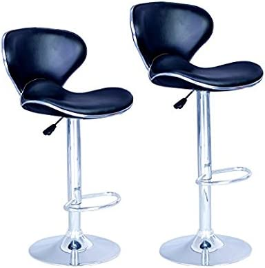 New Modern Adjustable Synthetic PU Leather Swivel Bar Stool Stool Sets of 2 Swivel Adjustable Barstools