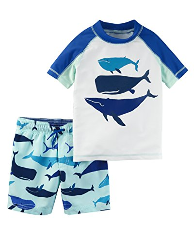 (Carter's Boys' Toddler Rashguard Swim Set, Blue Whale, 3T)