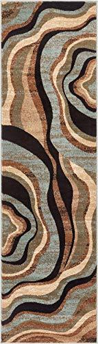 (Hudson Waves Blue Brown Geometric Modern Casual Rug 2x7 ( 2'3