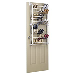 Whitmor Over the Door, 24Pr Floor Shoe Rack, White