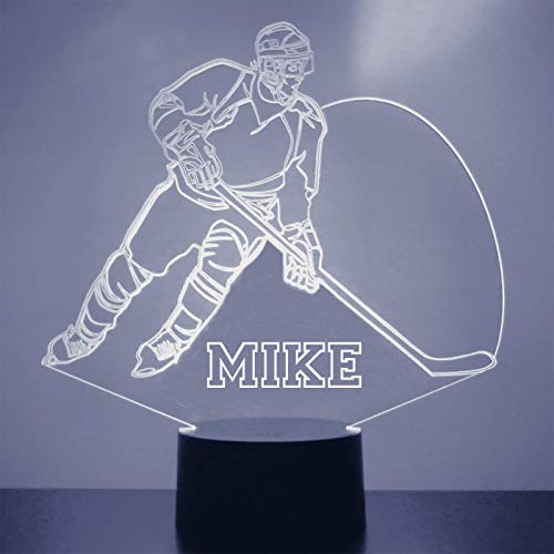 Mirror Magic Store Hockey Player Light - Personalize Free Kid's Room LED Night Lamp Gift ()