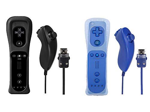 Poglen 2 Packs Wireless Gesture Controller and Nunchuck Jostick Compatible for Nintendo wii/wii u Console - with Silicone Case and Wrist Strap for wii Controller (Black and Deep Blue)
