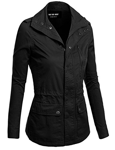 Review ViiViiKay Womens Cotton Anorak Lightweight Utility Parka Jackets With Drawstring New 006 Black XL