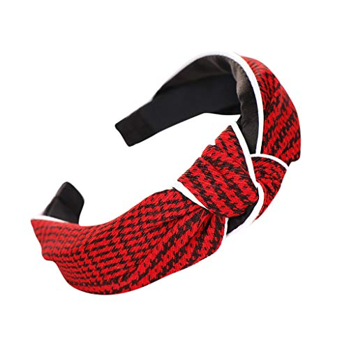 (ANJUNIE Bow Knot Women Girls Lovely Style cloth Cross Knot Hair Hoop Simple Sweet Hairband Headwear Accessories (1-Red,Freesize))