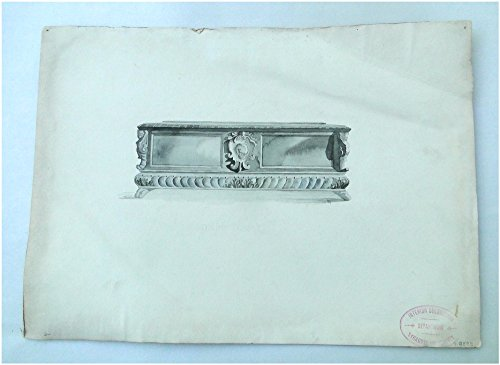 Italian Classic Sideboard Black and White Watercolor Drawing Architectural Furniture Art