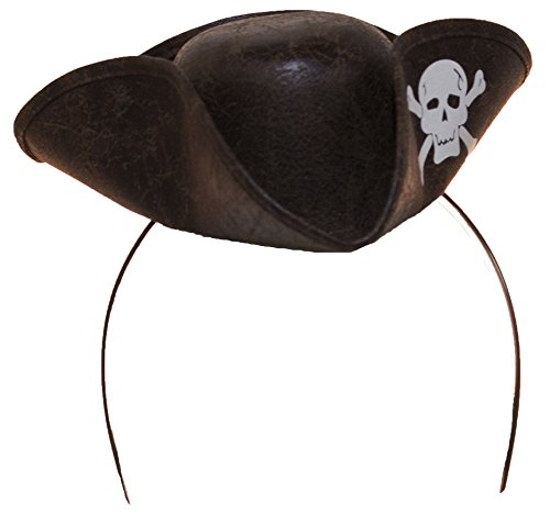 Jacobson Hat Company Women's Mini Pirate Hat Headband with Skull & Crossbones, Brown Adjustable ()