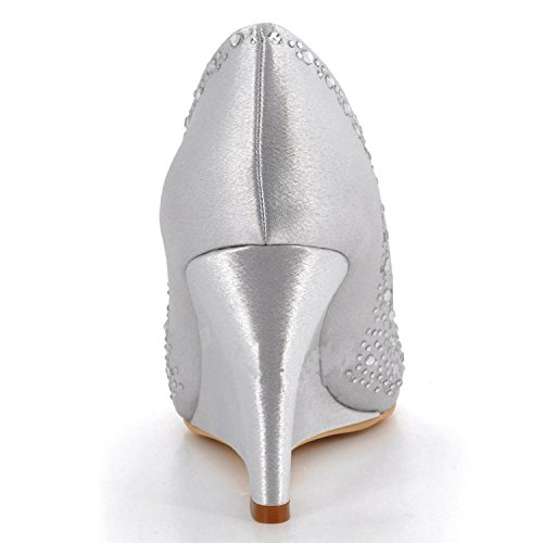 Minishion Dameskristallen Sleehak Satijnen Bruiloft Prom Pumps Wit-9cm Hak