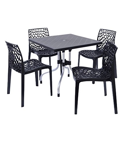 Dzyn Furnitures Supreme Outdoor Set (4 Web Chairs + 1 Olive Table) Black