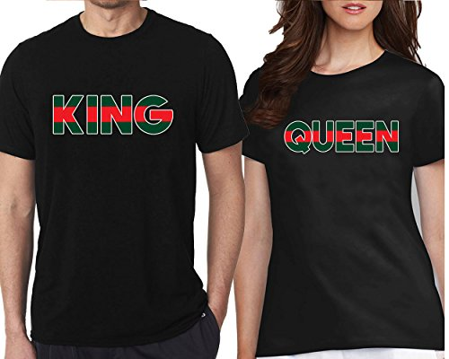 (CRAZYDAISYWORLD King Queen t-shirts GREEN RED Line FASHION Style for couple Black Men L-Women)