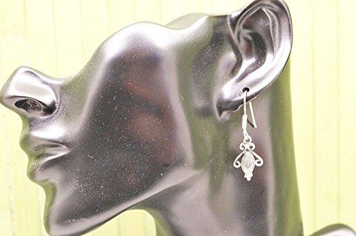 Boucles d'oreilles plaqué argent avec labradorite 12 mm x 39 mm