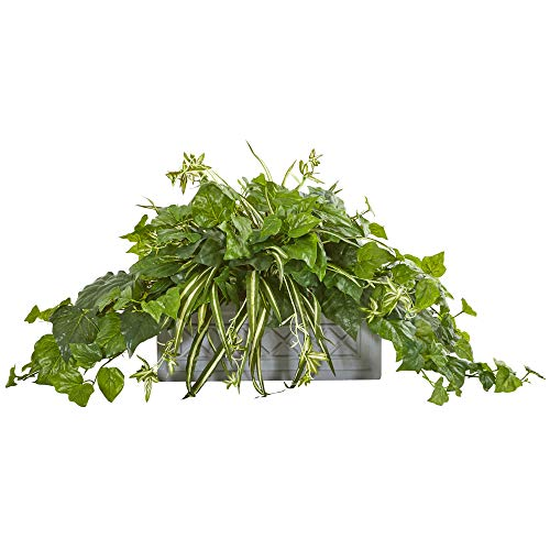 Nearly Natural 8525 London Ivy and Spider Artificial Stone Planter Silk Plants Green
