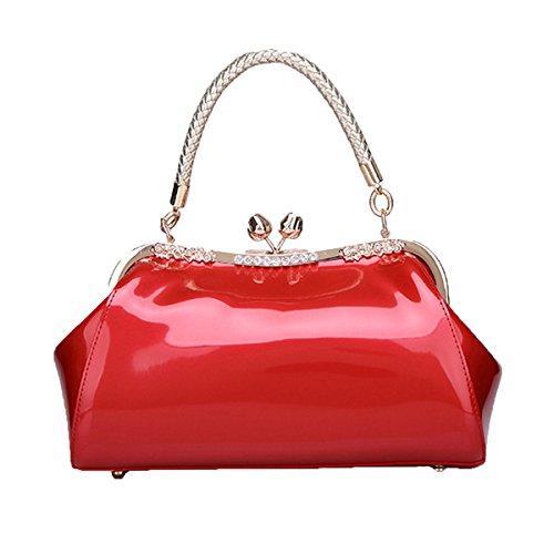 Bolsos Portables De Cuero De Patente De Moda Hombro Diagonal Del Paquete Nupcial Del Paquete De La Boda Del Bolso De Las Mujeres Para Las Mujeres Rojo