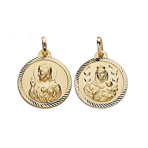 18k médaille d'or Virgen del Carmen et Jésus-Christ 18mm. [AA0557]