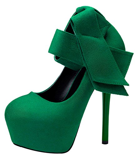 Passionow Women's Fashion Close Round Toe Ankle Strap Bowknot Super High Stilettos Heel Platform Suede Pumps (6 B(M) US,Green)