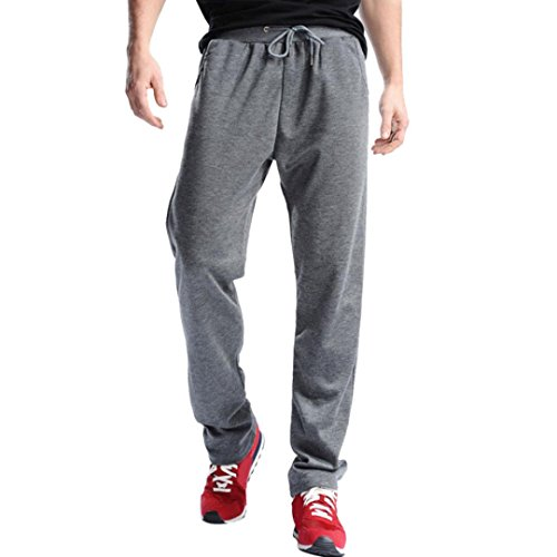 Realdo Mens Sport Trousers, Casual Daily Solid Fitness Running Joggers Sweatpants Pants(Dark -