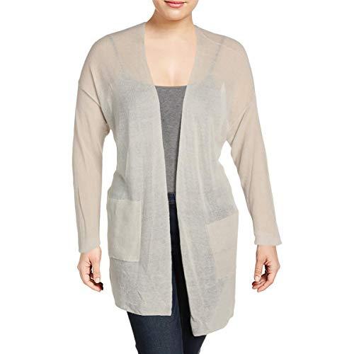 Eileen Fisher Womens Plus Linen Open Front Cardigan Sweater Beige 1X