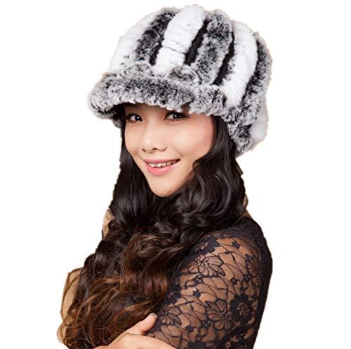 (YSJOY Women's Rabbit Fur Knitted Stripe Visor Peaked Cap Beanie Hat Thicken Winter Warm Cap Grey White)