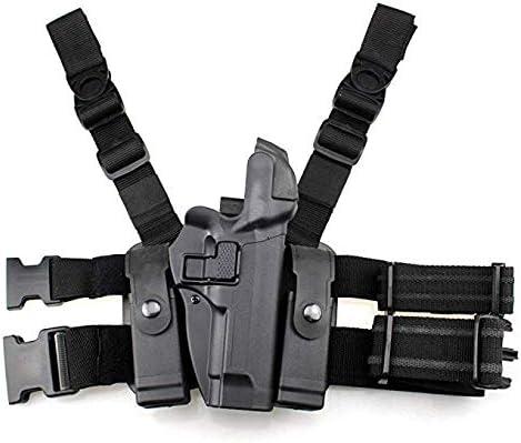 Gexgune Funda táctica para Pierna Paleta Derecha Cinturón para Muslo Nivel 3 Cerradura Funda de Pistola de Pistola con Bolsa de antorcha de Revista