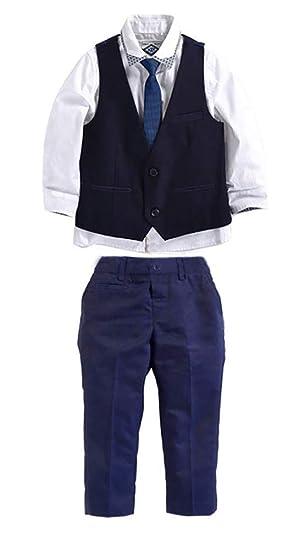 c6df47aacef62d Carolilly Ensemble Costume Cravate Enfant Bébé Garçon 3 Pcs Chemise +  Pantalon/Short + Gilet Mariage Fête Cérémonie