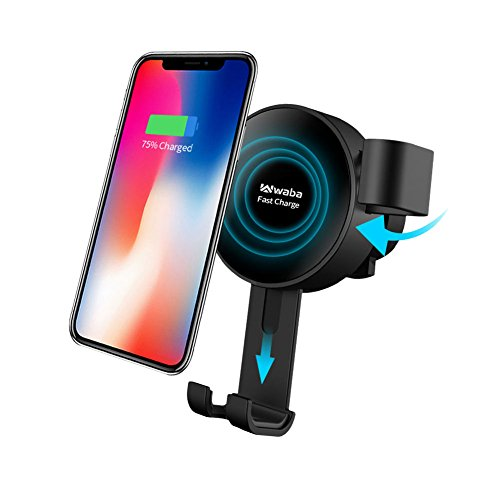 Wireless Car Charger, WABA Fast Car Charging, 2-in-1 Air Vent Car Mount Charger for iPhone X, 8, 8 plus, Samsung Galaxy Note 8 S8 S8 Plus S7 Edge S7 S6 Edge Plus Note 5, NO AC Adaptor
