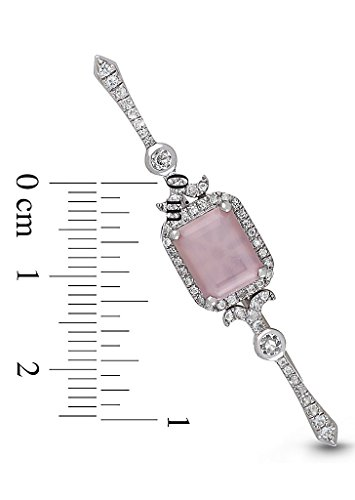 Sterling Silver Pink Mother of Pearl White Topaz Locket Bridal Bouquet Pin Betty by With You Lockets by With You Lockets (Image #3)