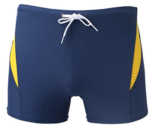 Peridot Cross Religious - Linemoon Men's Solid Spliced Boxer Swimming Brief Elastic Trunks Blue 27-29 Inches