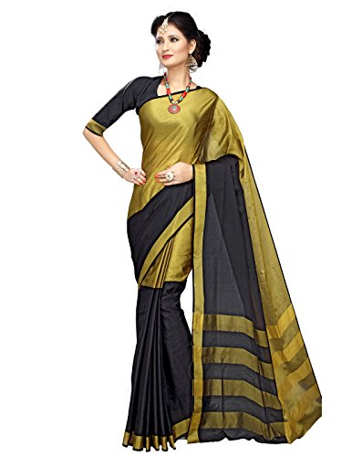 Shonaya-Black-Colour-Cotton-Woven-Work-Saree-Unstitched-Blouse-PieceFree-Size