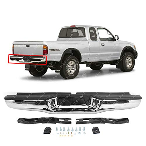 MBI AUTO - Steel Chrome, Complete Rear Bumper Assembly w/Hardware for 1995-2004 Toyota Tacoma Pickup, TO1102215
