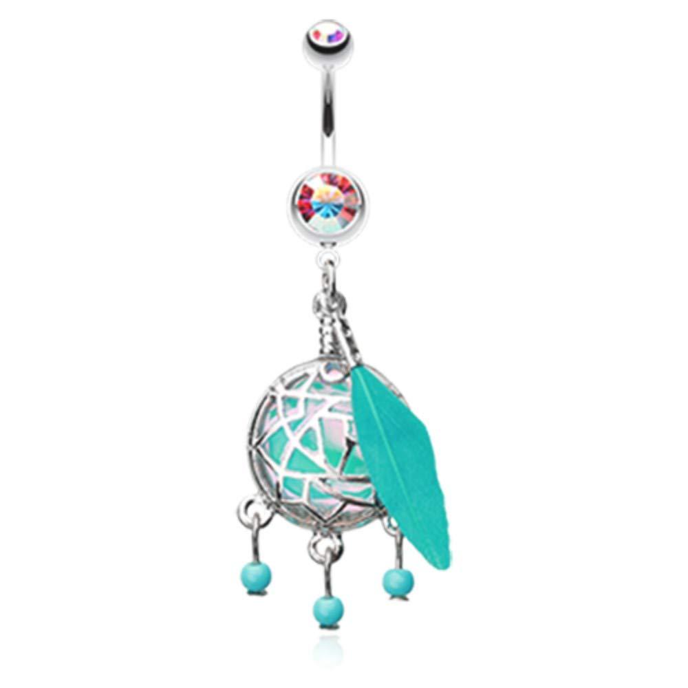 14 GA Opal Sparkle Dreamcatcher Dangle Belly Button Ring Davana Enterprises Sold Individually