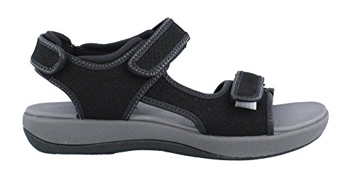 Clarks Women's Brizo Sammie Flat Sandal, Black Perforated...