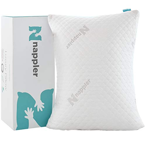 Nappler Shredded Memory Foam Pillow Luxury Loft Home Pillow Hotel Quality Bed Pillows, Pillow for Sleeping Support Side Back Stomach Sleepers Grade Washable Removable Bamboo Cover