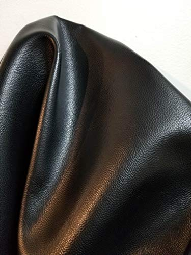 Black Mini Tumble grain Faux Leather Synthetic Pleather 0.9 mm Baby Calf grain 1 yard 52 inch wide x 36 inch long Soft smooth vinyl Upholstery (Black Tumblegrain)