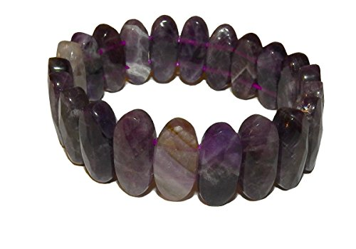 Oval Faceted Amethyst Bracelet 01 Gorgeous Natural Spiritual Healing Crystals (Gift Box) 7.25 inches