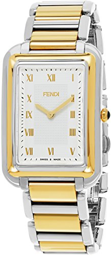 Fendi Classico Rectangular Swiss Made Mens Thin Watch Two Tone Yellow Gold Stainless Steel Metal Band - Analog Quartz White Face with Sapphire crystal Luxury Rectangle Dress Watches For Men - Mens Vintage Fendi