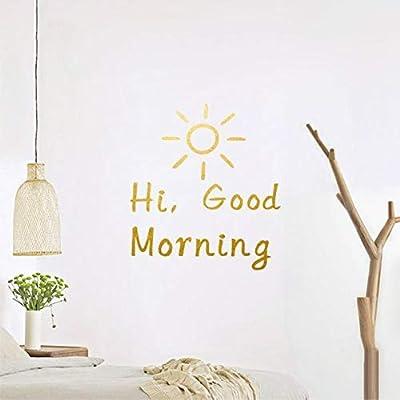 hi good morning vinyl wall decal home decor wall quotes gold