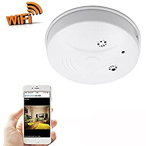 CAMXSW Wifi Network Hidden Camera Smoke Detector Wifi Pinhole Hidden Wireless IP Camera Motion Activated Video Recorder DV Camcorder,Support IOS Android Smartphone APP Remote View (1080p)